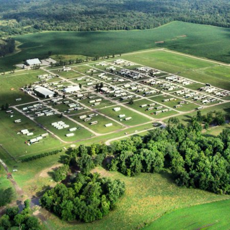 Birdseye view of the Amana Colonies RV Park & Event Center during a busy rally weekend.