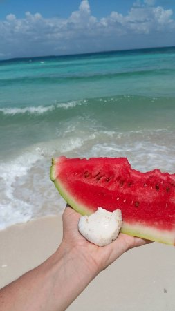Punta Gorda, Belize: Watermelon and Coconut on the beach