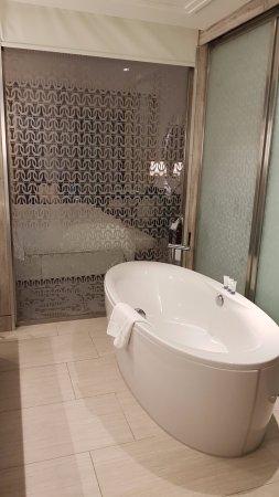 Hilton Dubai Al Habtoor City: Una bañera espectacular, se echa de menos que sea de hidromasaje.