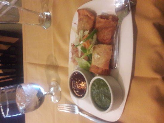 Ambler, PA: Right: the Chatapata Chicken Samosa appetizer at Saffron.