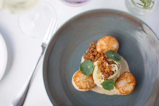 McMahons Point, Австралия: Seared scallops, sebago linguine, truffle cream, jamon
