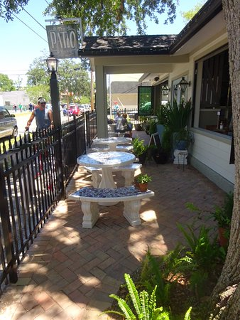 The Patio Place: Beautiful Concrete Tables And Benches Beside The Sidewalk  In Front Of The