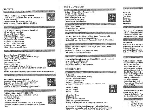 Порт-Сент-Люси, Флорида: Activities schedule