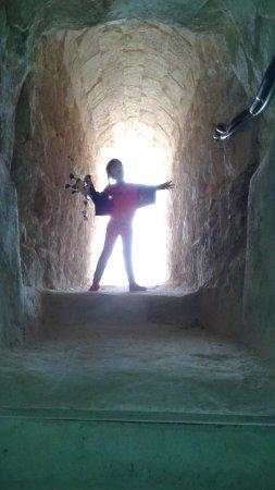 Herodium: 7 yeaar old enjoying the tunnels under the mountain