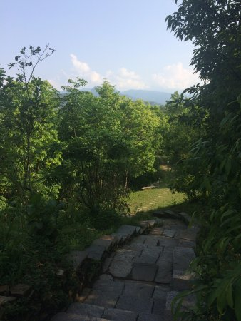 Tiger Mountain Pokhara Lodge: path to the rooms & pool