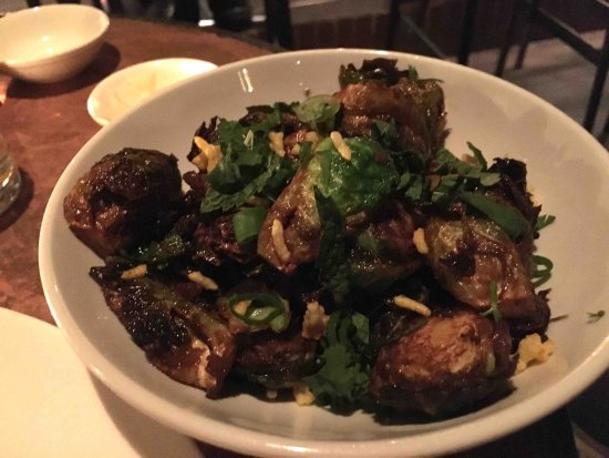 Brussels sprouts with crunchy rice - a signature dish