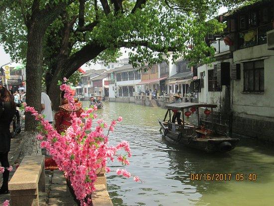 Zhujiajiao Ancient Town: Vacker vy från gondolturen.
