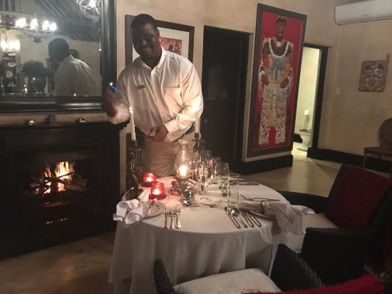Royal Malewane: Andrew sets up a romantic, in room dinner for us