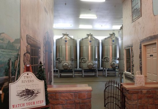 Two Rivers Winery: Vats of wine in the making