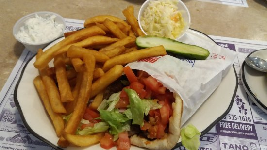 Hamden, CT: Gyro pita wrap with homemade tzatziki sauce