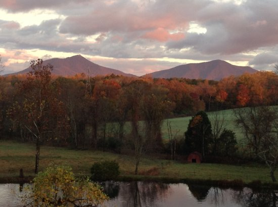 Bedford, VA: View from the deck of sun setting over the Blue Ridge Mtns.