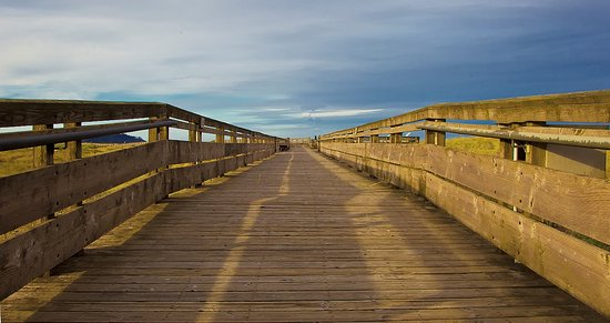 Akari Bungalows: The boardwalk at first light