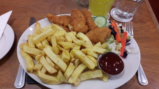 Nether Poppleton, UK: Chicken goujons followed by jam and coconut sponge - delicious!