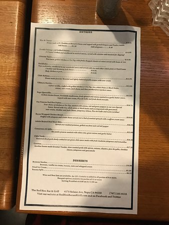 Red Hen Cantina: back of the menu