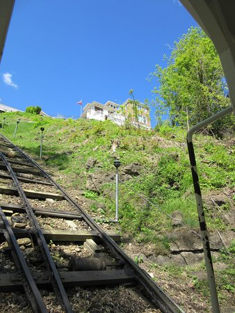 Dubuque, IA: View Up Hillside from Inside Cable Car