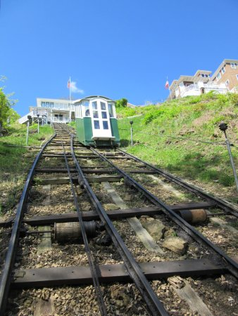 Dubuque, IA: View of Approaching Cable Car from Inside Other Cable Car