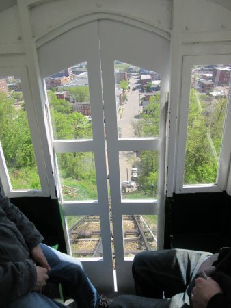 Dubuque, IA: View Down to 4th Street from Inside Cable Car