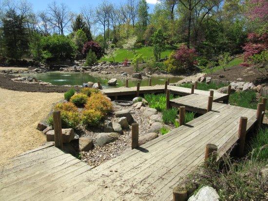 Dubuque, IA: Boardwalk over Japanese Garden Koi Pond
