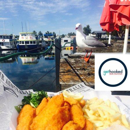 Tweed Heads, ออสเตรเลีย: Enjoy fish n chips overlooking the Tweed Marina