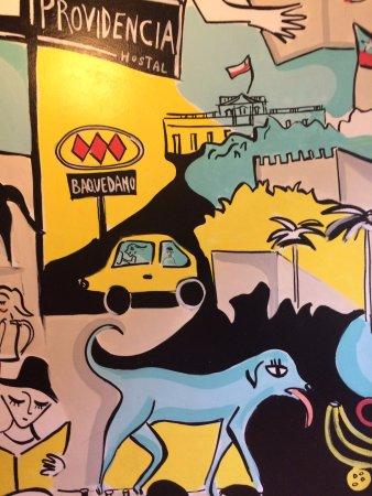 Hostal Providencia: Um dos murais do hotel