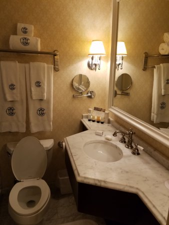 Union League Club : Sink sticks out making it difficult to enter the bathroom and shut the door.