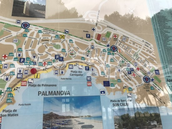 Mapka mejscowoci Palma Nova Picture of Apartamentos Las Palomas