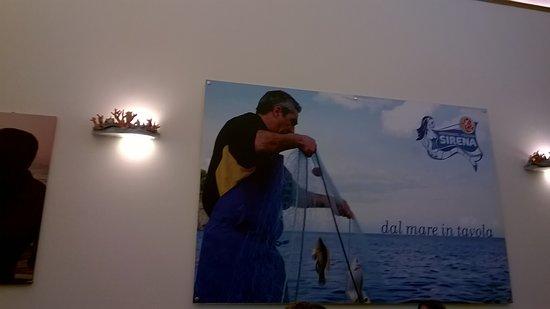 Ristorante Sirena: il titolare mentre sta pescando con le sue reti foto su parete del negozio