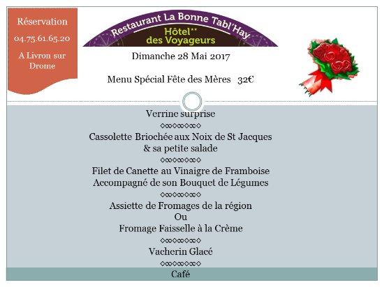 Livron-sur-Drome, Prancis: Menu Spécial Fête des Mamans