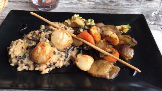 Mirepoix, Frankrike: risotto aux st jacques et champignons vraissemblablement frais !!!!