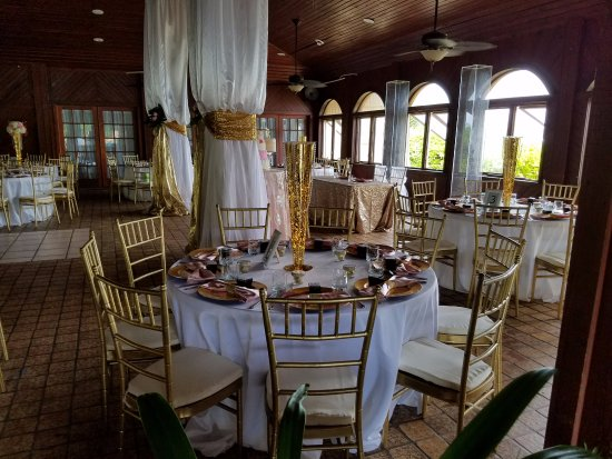 The Palms at Pelican Cove: Mahogany Dining Room, as set for a wedding reception