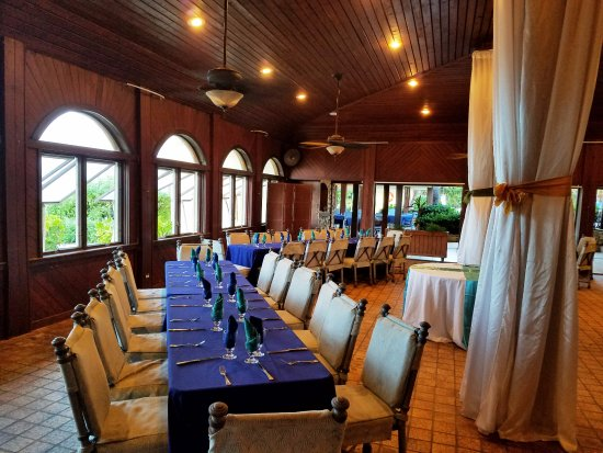 The Palms at Pelican Cove : Mahogany Dining Room, as set for a business luncheon