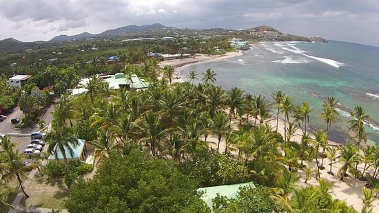 An aerial view of part of the grounds of The Palms at Pelican Cove