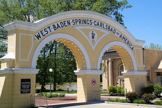 West Baden Springs, IN: Old entry monument restored