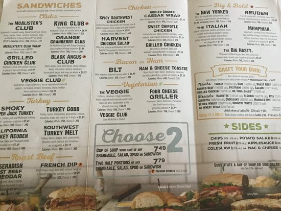 Luscious image within mcalisters deli printable menu