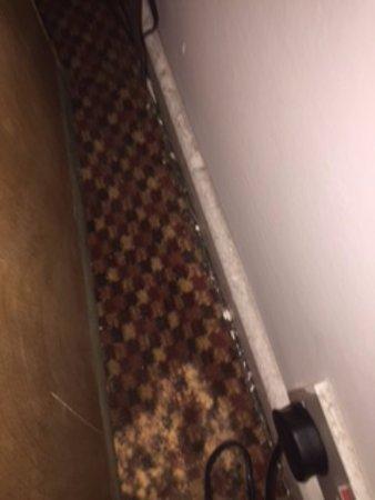 Falstaff Hotel: Debris on floor near working socket.