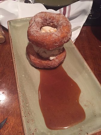 Liquid Assets : Ice cream sandwich with house made doughnuts and caramel sauce--YUM