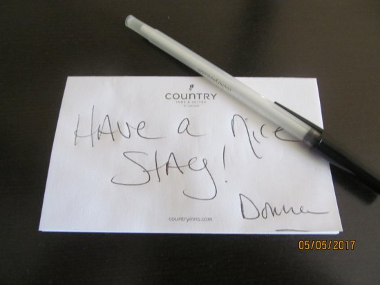 Country Inn & Suites by Radisson, Evansville, IN: A fun little note from our housekeeper!