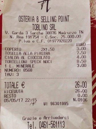 Calavino, Italia: Scontrino della cena