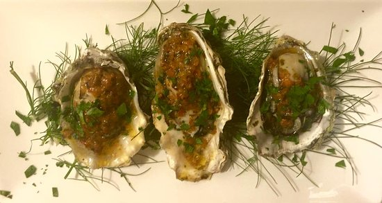 Point Arena, CA: Grilled rock point oysters with thai butter