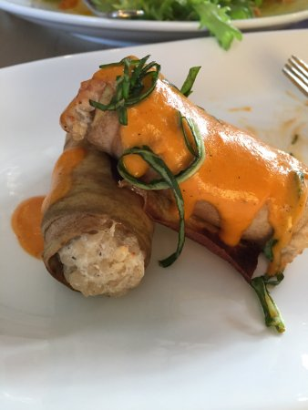 Prince Frederick, MD: Eggplant Manicotti, served three bundles on plates