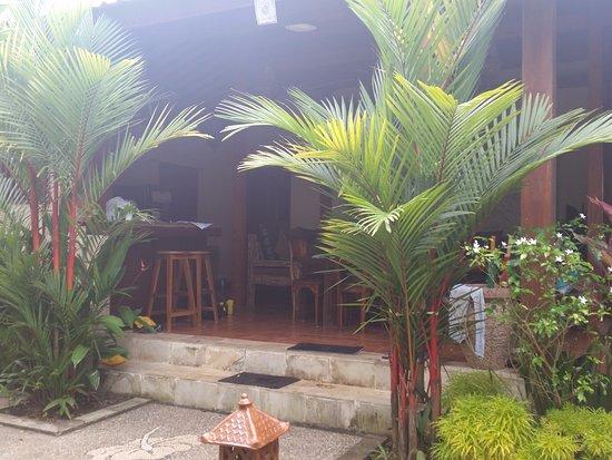 Lily Lane Villas: View from garden to villa in Villa 3