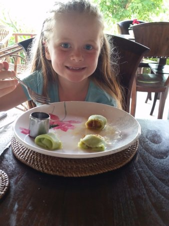 Lily Lane Villas: Balinese pancakes in the lily pad dining room
