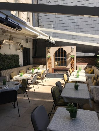 The terrace on a sunny morning
