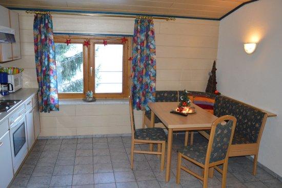Niedernsill, Österrike: livingroom/kitchen 2-bedroom apartment