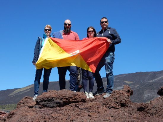 New Travel Services Day Trips: Obligatory selfie on Mount Etna complete with Sicilian flag!