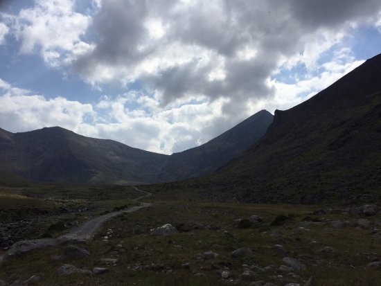 Beaufort, Ireland: Looking in from the access route to Carrauntuhil, with Hag's Tooth intruding from the right