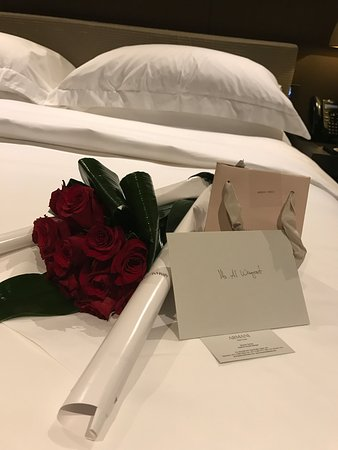 An Apology Letter, Roses, And Chocolate - Picture Of Armani Hotel