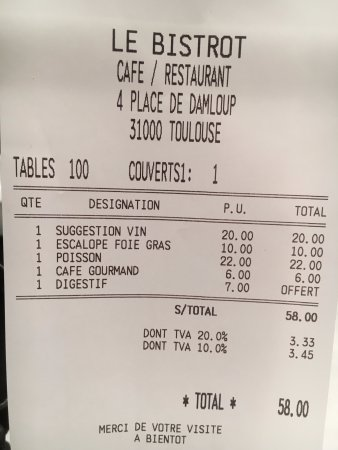 Le Bistrot: Not too expensive