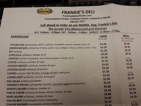 Lombard, IL: Partial Menu Nothing Over $8