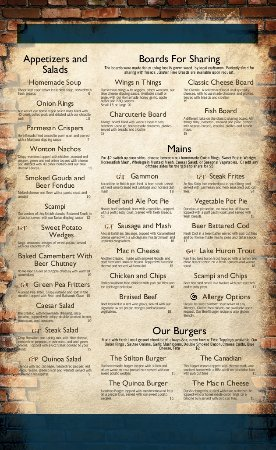 Listowel, Canada: Our Current menu